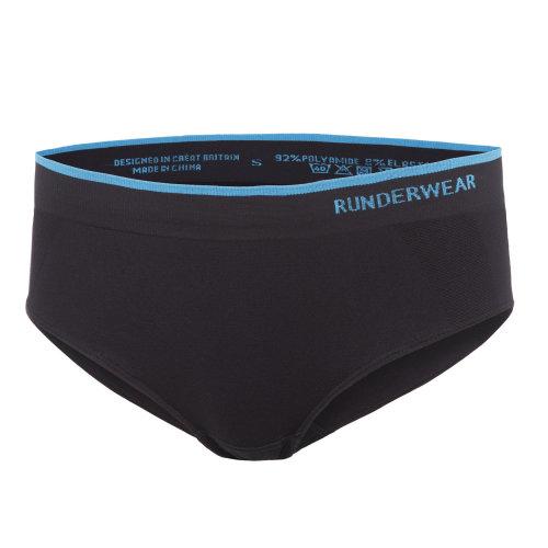 Runderwear Womens Ladies Low Rise Hipster Running Brief Underwear Black