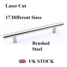 T-BAR HANDLE BRUSHED STEEL KITCHEN CABINET DRAWER CUPBOARD WARDROBE BEDROOM