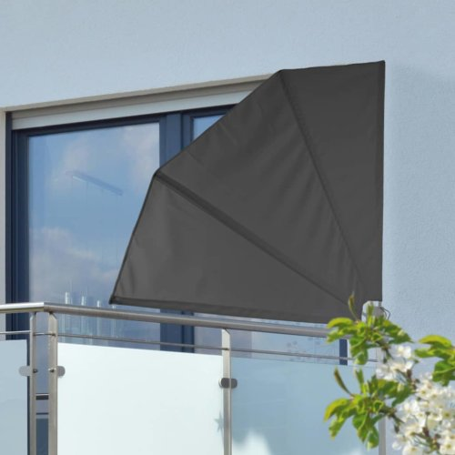 HI Balcony Screen 1.2x1.2m Black Polyester Steel Patio Awning Patio Screen