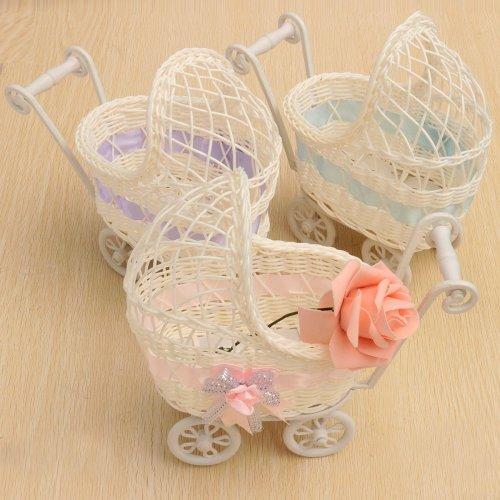Flower Basket Wicker Pram Basket Baby Shower Party Gift Present Organizer Home Table Decor Gift