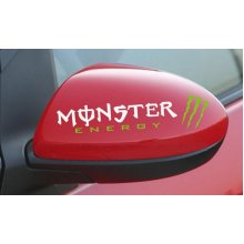 """Car Truck Rear View Mirror Stickers SILVERY And GREEN One Pair (5.7""""x1.6"""")"""