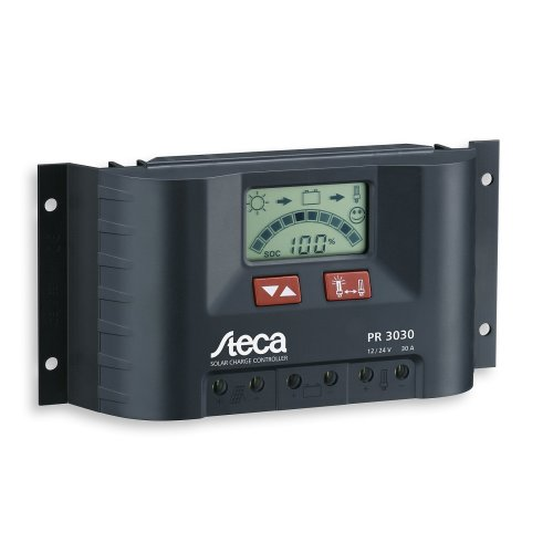 Steca 30A 12V/24V PWM solar charge controller with an LCD display for caravans, motorhomes, boats and yachts