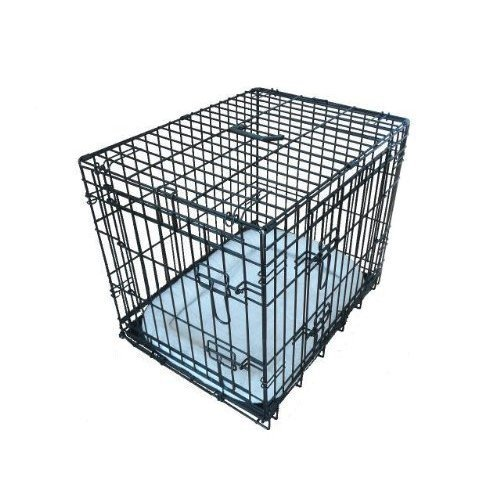 Ellie-Bo Deluxe Extra Strong 2 Door Folding Dog Puppy Cage with Faux Sheepskin Bed X Large 42 inch Black