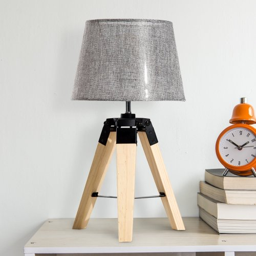 Homcom Wooden Tripod Table Lamp with Bulb Base