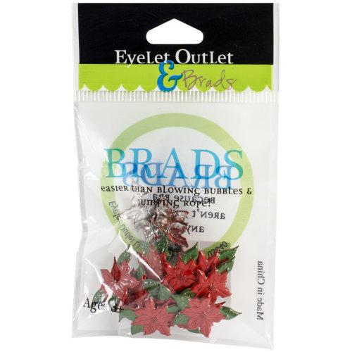Eyelet Outlet Shape Brads 12/Pkg-Poinsettia