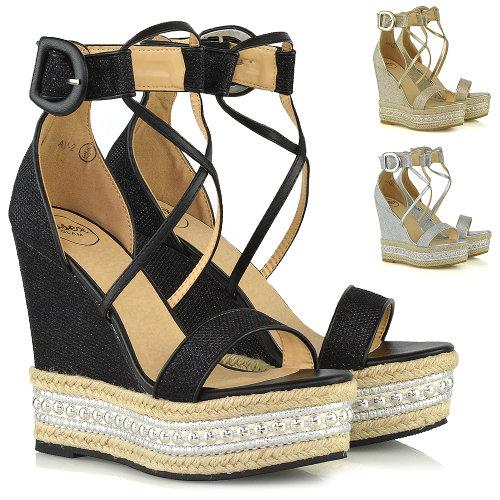 Womens High Heel Wedge Sandals Ladies Espadrilles Platform Ankle Strap Summer Shoes