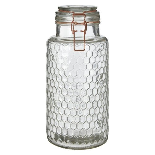 Apiary Rose Gold Wire Large Glass Jar Honeycomb Pattern