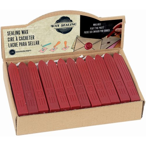 Manuscript Traditional Sealing Wax Sticks W/Wick 36/Pkg-Red, MSRP $2.55 Each
