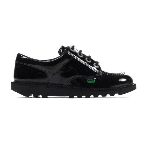 Kickers Kick Lo Classic Patent Leather Girls Kids School Fashion Shoe Black