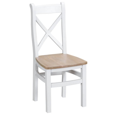 Suffolk White Painted Oak Crossback Chair With Wooden Seat