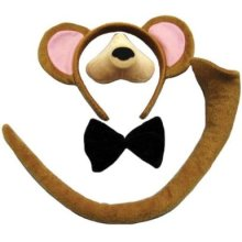 Children's Monkey Ears, Nose, Tail & Bow Tie Set -  monkey set fancy dress tail costume nose ears animal adult bow tie