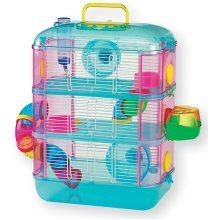 Hamster Cage, Blue, Three Storey With Tubes