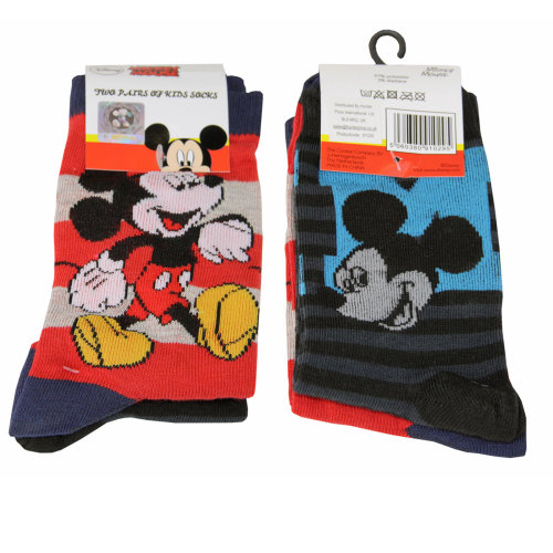 2 Pairs Children's Socks - Licensed Character Design - Mickey Mouse Size 12-2.5