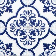 non-woven wallpaper XXL large tiles indigo blue