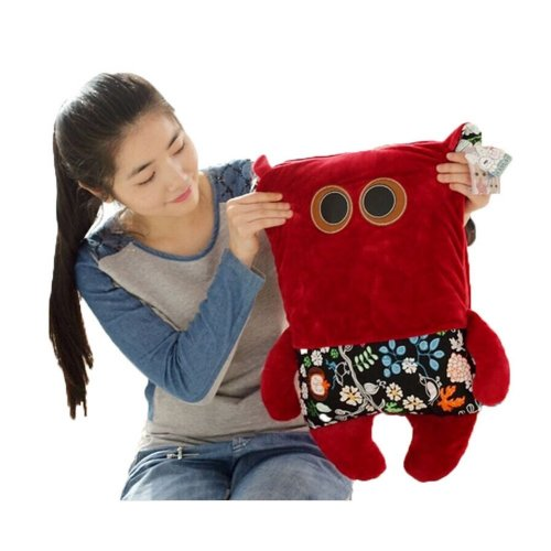 Deer, Bear Vizcacha Cat Pillow Dual-purpose Air Conditioning Blanket--Red