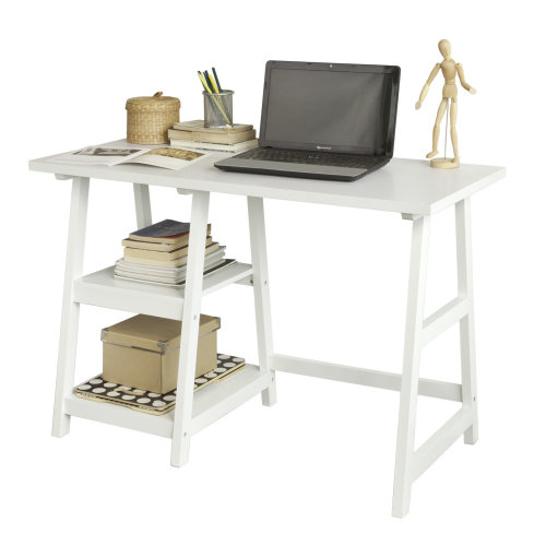 SoBuy Office Desk with 2 Storage Shelves | White Workstation FWT16-W