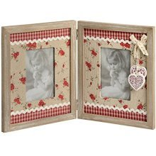 Double Photo Frame With Floral Design And Hearts