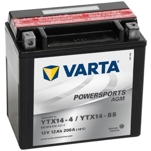 Varta Motorcycle Battery Powersports AGM YTX14-4/YTX14-BS