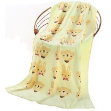 Lovely Large Beach Towel With Bears And Rabbits/ Yellow Beach Towels (140*70cm)