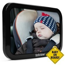 Baby Car Mirror - For Rear Facing Car Seats - Large, Secure Fit Baby Mirror