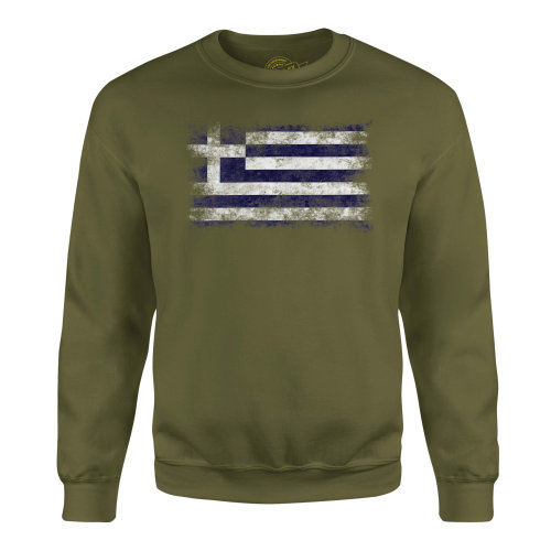 Candymix - Greece Distressed Flag - Unisex Adult Sweatshirt, Size X-Small, Colour Dark Navy, Size Medium, Colour Military Green