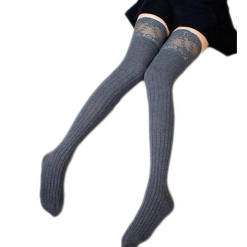 1 Pair Knee-high Stockings Warm Lace Thigh Stockings Leg Warmers Socks-A07