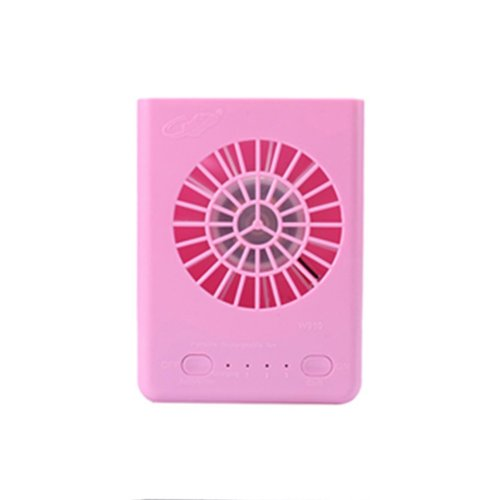 Mini Portable Hanging Neck Electric Fan USB Charged Cooling Fan for Home Travel (Pink)