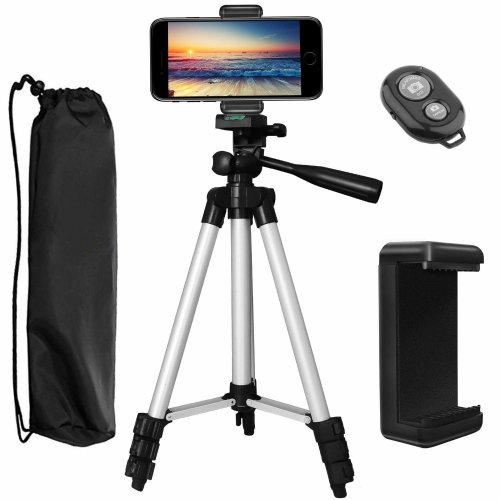 "PEMOTech Phone Tripod, 43"" Inch Aluminum Lightweight Portable Camera Tripod +Smartphone Holder +Bluetooth Remote Shutter +Carry Bag Compatible for..."