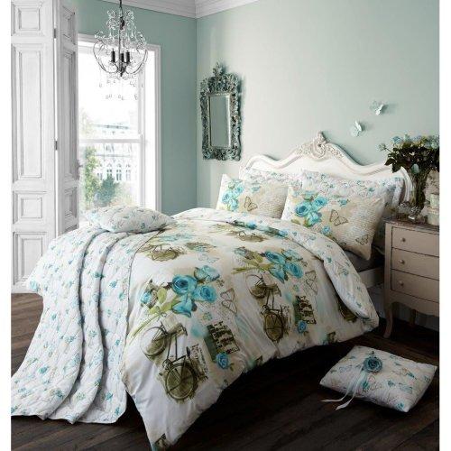 Vintage Dream teal cotton blend duvet cover