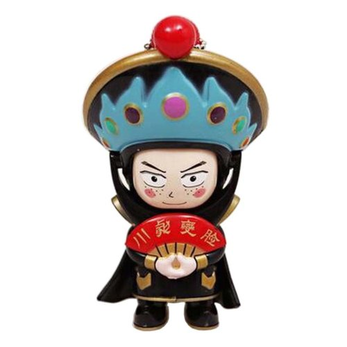 Chinese Opera Face Changing Doll Sichuan Opera Figure Toy, Blue Hat, Black