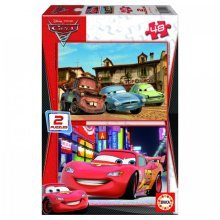Jigsaw Puzzles - 48 pieces each - 2 in 1 - Wooden - Disney Cars 2 : Piston Cup and Radiator Springs