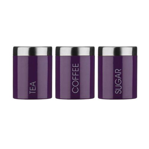 Set Of 3 Tea Coffee Sugar Enamel Canisters - Purple