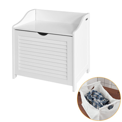 SoBuy® FSR40-W, Bathroom Storage Cabinet Chest Laundry Bin Laundry Basket Toy Box