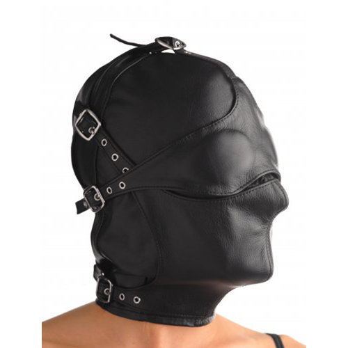 Asylum Leather Hood with Removable Blindfold and Muzzle M/L BDSM Masks - Strict Leather