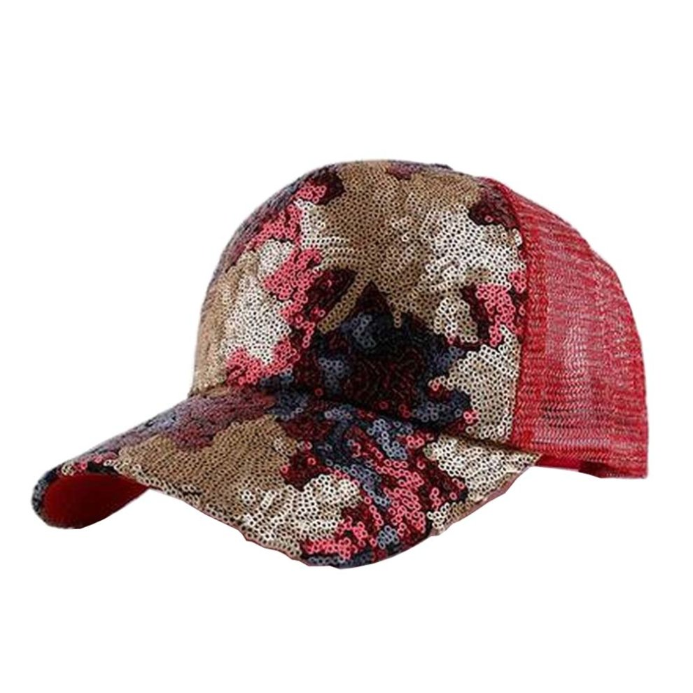 Leaf Red  Women Adjustable Baseball Cap Sequins Baseball Cap Shiny Sun Hat  ... 966d55fcc321