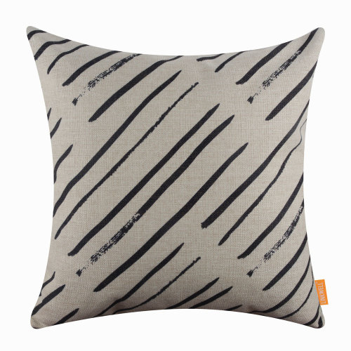 "18""x18"" Black Line Simple Design Burlap Pillow Cover Cushion Cover"