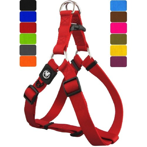 DDOXX Nylon Step-In Dog Harness sizes | for large, medium & small dogs | adjustable | Red, XS - 3/8 x 12.5-17 inch | [Lead & Collar sold separately]