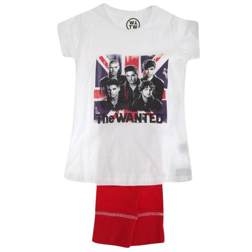 Childrens/Kids Girls The Wanted Union Jack Short Sleeve Top & Bottoms Pyjama/Nightwear Set
