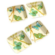 Set Of 4 Tasting Square Dishes Set Ceramic Dipping Sauce Dishes,Butterfly