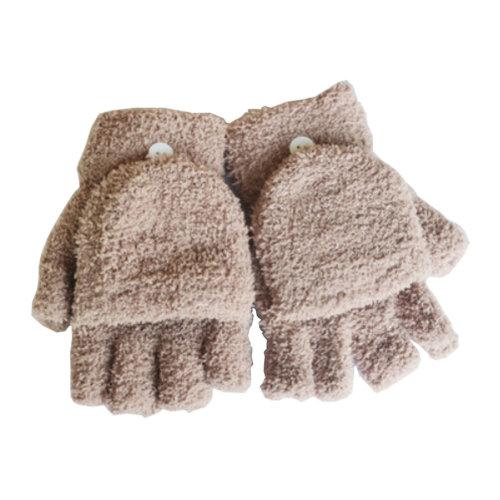 Women's/Girls Fingerless With Mitten Cover Plush Gloves,khaki