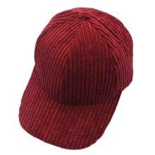 Corduroy Fashion Baseball Cap Adjustable Leisure Hat Winter Plain Hat, Garnet