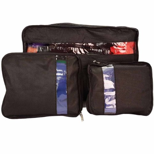 Set Of 3 Suitcase Organiser Bag Packers Tidy Case Luggage Packing Travel Cubes[Black]