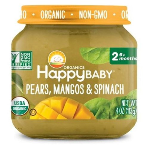 Happy Baby 318858 Stage 2 Pear Mango Spinach Clearly Crafted Baby Food in Jar, 4 oz - Pack of 12
