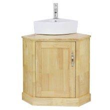 Blupp Solid Oak Corner Bathroom Vanity Unit & Corner Ceramic Sink