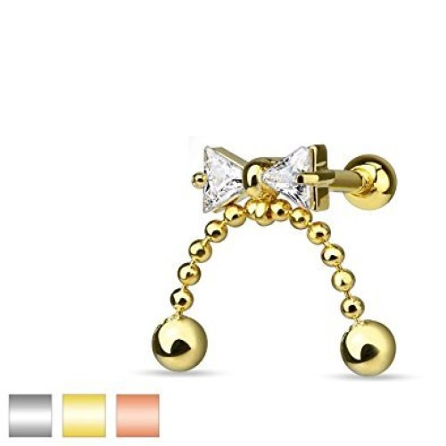 Crystal Bow Ribbon with Chained Ball Dangle Tragus or Cartilage