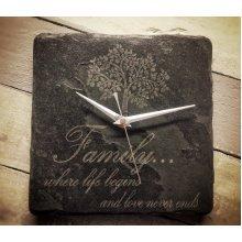 Family Square Slate Clock - 22cm