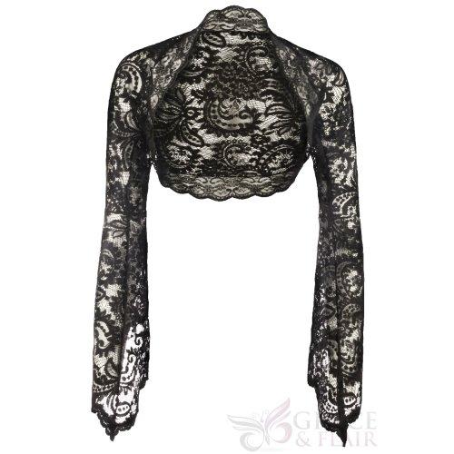 Ladies Premium Black Windsor Lace Bell Sleeve Bolero Size 6-30
