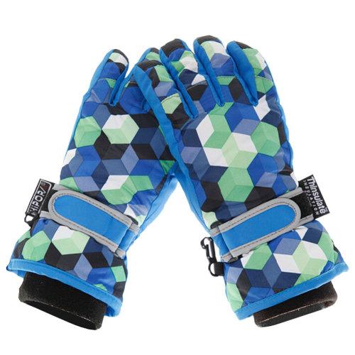 Plaid style Snow Skiing Ourdoor Winter Gloves Waterproof 9-13 Years Old BLUE