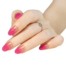 Stylish Gradient Nail Art French Style Pre-designed False Nails, Rose