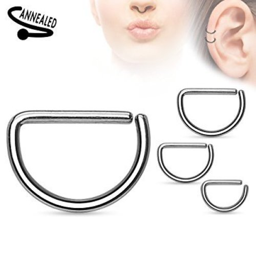 D Shape Annealed Surgical Steel Cut Cartilage Septum Universal Piercing Jewellery